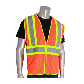 PIP Class 2 Zipper Closure Mesh 2 Tone Safety Vest - High visibility orange and yellow mesh zippered safety vest with two front pockets and reflective strips around the waist and over the shoulders.