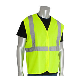 PIP Solid Hook & Loop Class 2 Vest - High visibility yellow solid hook and loop closure safety vest with reflective strips around the waist and over the shoulders.