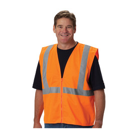 PIP Solid Zipper Closure Class 2 Vest - High visibility orange solid front zipper closure safety vest with reflective strips around the chest and over the shoulders.