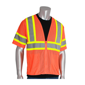 PIP Breathable Mesh Class 3 Zipper Safety Vest - High visibility orange mesh zippered safety vest with pockets and reflective strips around the chest, arms, and over the shoulders.