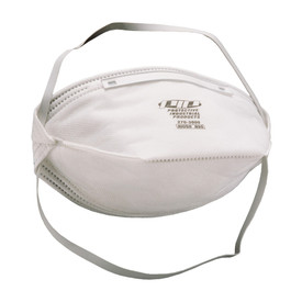 PIP Disposable Dust Folded Face Respirator without Valve - Gray disposable dust safety face mask with dual gray elastic straps, standalone view.