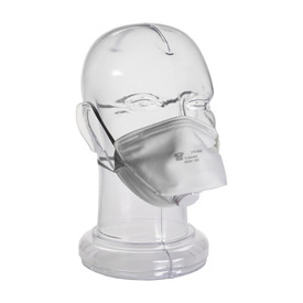 PIP Disposable Dust Folded Face Respirator With Valve - Gray disposable dust safety face mask with dual gray elastic straps and valve.