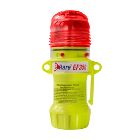 E-Flare Compact 4 LED Flashing Bright Emergency Beacons - Portable clip on bright high visibility yellow flashing emergency beacon with red light on.