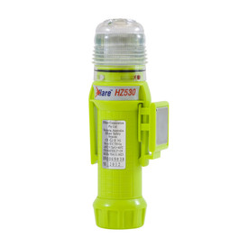E-Flare Hi-Viz Lime Emergency Beacon Magnetic Clip - Portable clip on bright high visibility yellow safety flashing beacon with specialized magnetic mounting clip.