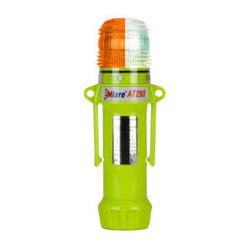 E-Flare Public Safety 1 Color Flash 4+4 LED Emergency Beacon - Portable high visibility yellow body clip on emergency safety orange and clear beacon.