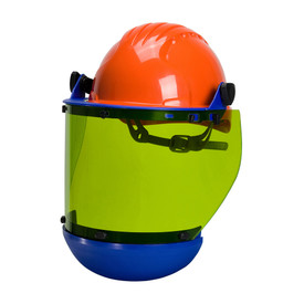 PIP Universal Hard Hat Mount CAT 2 Arc Shield Face Protector - Orange hard hat with yellow face shield and blue border.