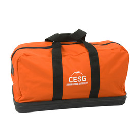 PIP Orange Arc Flash Hard Bottom Water Resistant Duffle Bag - Orange water resistant duffle bag with hard bottom and black straps.