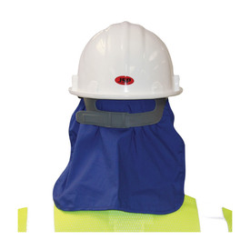 PIP Evaporating Hard Hat Cooling Pad & Neck Shade - Blue thermal attachment to hard hat for use as neck shade or head cooling, back view.