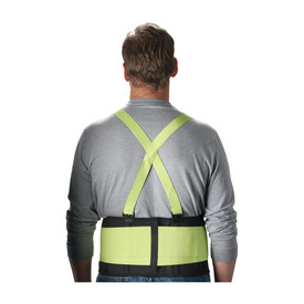 PIP Hi-Viz 8 Inch Detachable Suspenders Back Support Belt - High visibility yellow and black mesh support belt with yellow cross shoulder straps, back view.