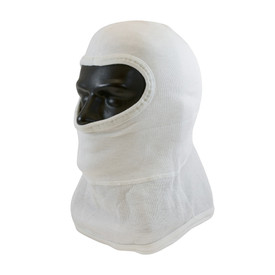 PIP Flame Resistant Protective 2 -Ply Full Face Hood - White head cover with half face opening and full short neck coverage.
