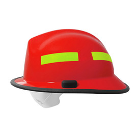 Pacific F6 Nomex Strap Eye Guard Fiberglass Fire Helmet - High visibility red and yellow hard helmet with size adjustment and eye protector.