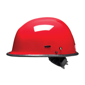 Pacific R3 DuPont Kevlar Shell Goggle Mounts Rescue Helmet - Bright red safety work hard helmet with goggle mounts and black brim.