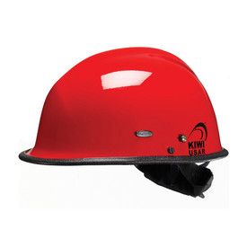 Pacific R3V4 KIWI Goggle Mounts Nomex Strap Rescue Helmet - Bright red safety work hard helmet with goggle mounts, and black brim.