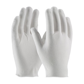 PIP Economy Light Unhemmed Cotton Polyester Inspection Glove - Pair of two white safety inspection work gloves with loose wrists, shown upright.