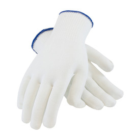 ANSI Cut 2 Lightweight 100_ Stretch Polyester Clean Glove - Pair of two white inspection safety work gloves with blue hemming and elastic fabric wrists.