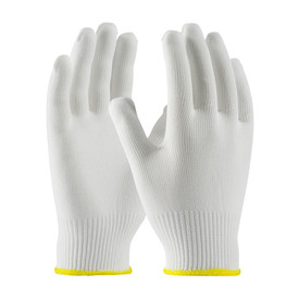 Lightweight 13 Gauge 100_ Seamless Polyester Glove - White seamless threaded safety work gloves with yellow hemming.