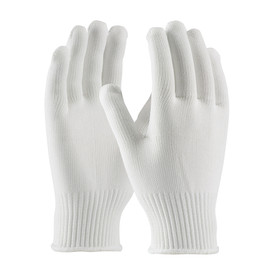 Mid-Weight 100_ Seamless Polyester Clean Glove - White seamless threaded safety work gloves with white hemming.