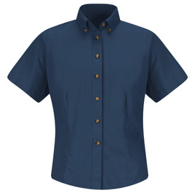 Red Kap Women's Twill Short Sleeve Button Down No Pocket Shirt - Red Kap navy blue short sleeve shirt with collar. Button up. 2 Pleats on left and right chest area. Front view.