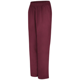 Red Kap Women's Poplin Elastic pants - Red Kap burgundy poplin pants. Gartered waist band. 2 Front seam pockets. Front view.