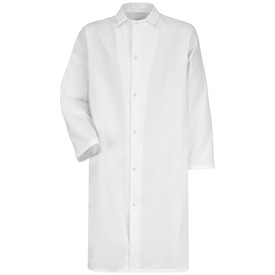 Red Kap White 6 Gripper No Pocket Long Butcher Coat - Red Kap white long sleeve shirt with collar. 1 Front chest pocket. 2 Lower waist pockets. Buttons up. With cuffs. Front view.