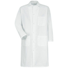 Red Kap White 6 Gripper 3 Pocket Long Butcher Frock - Red Kap white long sleeve shirt with collar. 1 Front chest pocket. 2 Lower waist pockets. With cuffs. Front view.