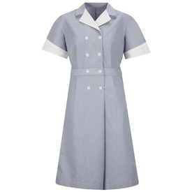 Red Kap Women's Pincord Housekeeping Button Closure Dress - Front view of Red Kap Navy Pincord below the knee housekeeping dress with 4 rows of 2 buttons, white cuffed short sleeves and white lapel collar.