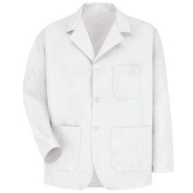 Red Kap Men's 3 Button Healthcare Coat - Red Kap white long sleeve lab coat  With V-neck cut collar. 1 Front chest pocket. 2 Front lower waist pocket. In circular front cut. Front view.