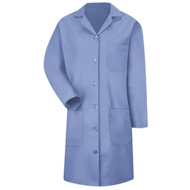 Red Kap Women's Healthcare Lab Coat - Red Kap blue long sleeve lab coat With collar, 1 front chest pocket,  2 Front lower waist pocket.  Front view.