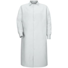 Red Kap 6 Gripper No Pocket Food Processing Coat - Red Kap white long sleeve work coat with collar. Front view.