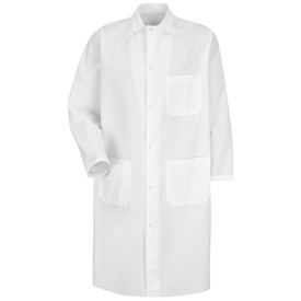 Red Kap Men's White 3 Pocket Food Processing Coat - Red Kap white long sleeve work coat with collar.  1 Front chest pocket and 2 Lower waist pockets. Front view.