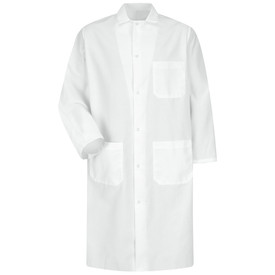 Red Kap Men's 6 Gripper Butcher Coat - Red Kap white long sleeve Butcher coat with collar, 1 Front chest pocket and 2 Lower waist pockets. Front view.
