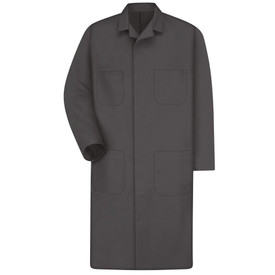 Red Kap Men's 4 Pocket Shop Coat - Red Kap charcoal long sleeve knee length work coat with collar, 2 Front chest pockets and 2 Lower waist pockets. Front view.