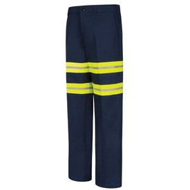 Red Kap Men's Wrinkle Free Hi-Viz Cotton Work Pant - Red Kap navy pants with double silver on yellow high visibility bands around upper legs above the knees and 2 front pockets. Front view.