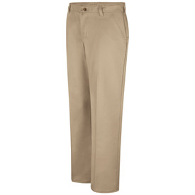 Red Kap Women's 3 Pocket Cotton Work Pant - Red Kap khaki pants with 2 front pockets and belt loops. Front view.