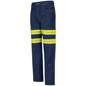 Red Kap Men's Denim Hi-Viz Relaxed Fit Jeans - Red Kap denim jeans with Double silver on yellow high visibility tape on upper legs and left angle view of  front hip pocket and belt loops. Front view.
