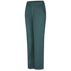 Red Kap Women's Elastic Back Waistband Work Pants - Red Kap green half elastic waist pants with no elastic on the front and view of hip pocket and crease in legs. Front view.