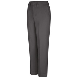 Red Kap Women's Side Elastic 4 Pocket Work Pants  - Red Kap charcoal elastic insert work pants with left front angle view of hip pocket, belt loops, elastic on side of waist and crease in legs.