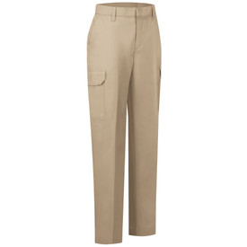 Red Kap Women's 6 Pocket Industrial Cargo Pants - Right angle front view of Red Kap khaki work cargo pants with 2 Front hip pockets, side cargo pocket with flap, zipper front closure and belt loops. Front view.