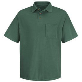 Red Kap Men's Rib Collar Polo Shirt - Red Kap green short sleeve polo shirt with collar, 3 front buttons and 1 Front chest pocket. Front view.