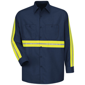 Red Kap Men's Long Sleeve Hi-Viz Industrial Work Shirt - Red Kap navy work shirt with silver on yellow high Visibility reflective tape down the full length of both sleeves and across the mid section of the shirt. Shirt has a collar, button cuffs, 7 button front closure and 2 button chest pockets. Front View.