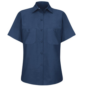 Red Kap Women's Poplin 2 Pocket Solid Work Shirt - Red Kap navy short sleeve women's work shirt with collar, 6 button front closure and 2 chest button pockets.  front view.