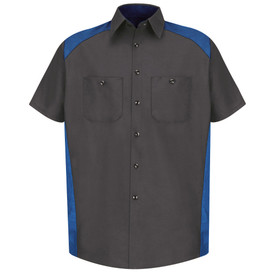 Red Kap Men's Motorsport 2 Pocket Shirt - Red Kap royal blue on charcoal short sleeve work shirt with collar, 7 button front closure and 2 chest button pockets. Top of shoulders, inside collar and shirt sides are royal blue. front view.