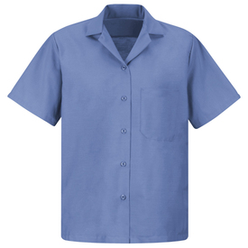 Red Kap Women's Short Sleeve Uniform Blouse - Red Kap petrol blue short sleeve work shirt with collar, 1 front chest pocket and 5 button front closure. front view.