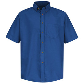 Red Kap Men's 1 Pocket Poplin Dress Work Shirt - Red Kap royal blue short sleeve work shirt with button down collar, 1 front chest pocket and 7 button front closure. front view.