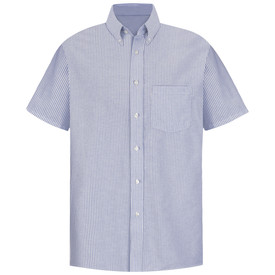 Red Kap Executive  Men's Oxford 1 Pocket Dress Shirt - Red Kap light blue and white striped short sleeve work shirt with button down collar, 1 front chest pocket and 7 button front closure. front view.