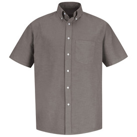 Red Kap Men's Executive Oxford Dress Shirt - Red Kap grey short sleeve work shirt with button down collar, 1 front chest pocket and 7 button front closure. front view.