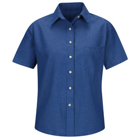 Red Kap Women's Oxford Dress Shirt - Red Kap French blue short sleeve work shirt with collar, 1 front chest pocket and 7 button front closure. front view.