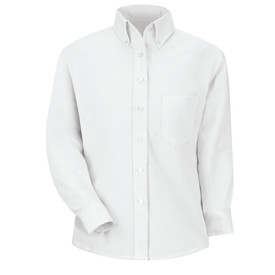 Red Kap Women's Executive Oxford Long Sleeve Dress Shirt - Red Kap white stripe long sleeve work shirt with button down collar, 1 front chest pocket and 7 button front closure. front view.