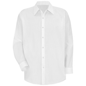Red Kap Men's Long Sleeve White Work Shirt - Red Kap white long sleeve work shirt with collar, cuffs, no pockets and 7 snap front closure front view.