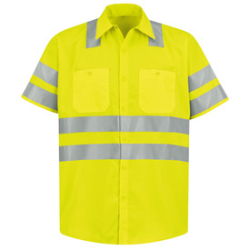 Red Kap Hi-Viz  ANSI Class 3 Short Sleeve Work Shirt - Red Kap fluorescent yellow short sleeve work shirt with 2 silver reflective bands around both arms above the elbow, 2 silver bands around the waist and 2 silver bands over both shoulders. Shirt also has a collar , sleeve cuffs, 2 button pockets and 7 button front closure. front view.